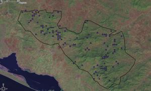 Localidades de colectas de plantas registrado por Conabio en La reserva de La Sepultura