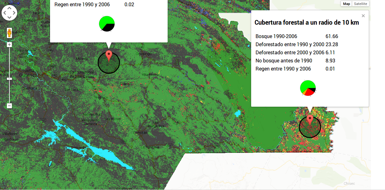 Deforestation in Southern Mexico: Displaying PostGIS raster queries